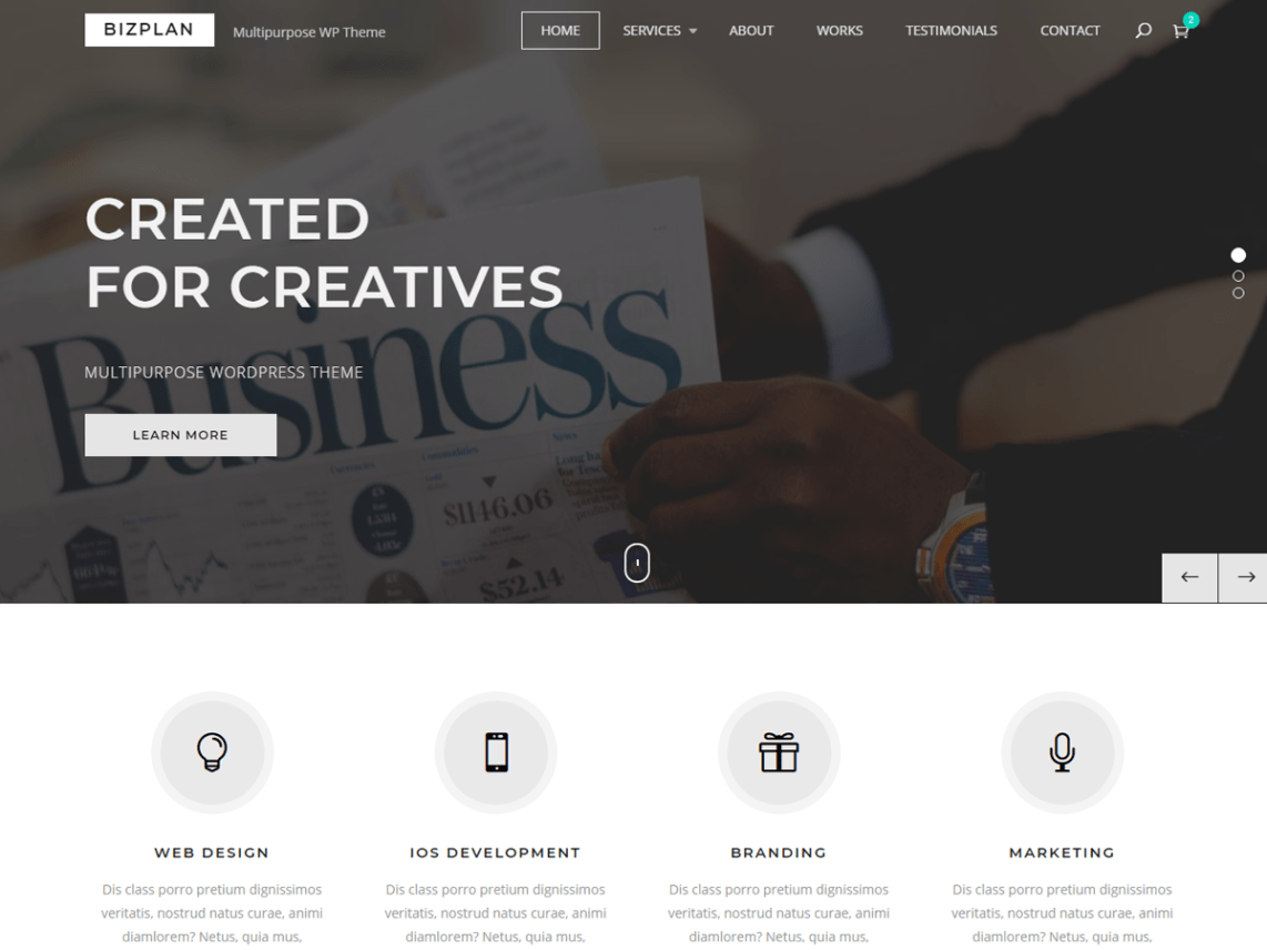 98b4c1e2 Bizplan is an enticing and visually stimulating, tender and polished,  professional and responsive WordPress creative multipurpose theme based on  Bootstrap ...